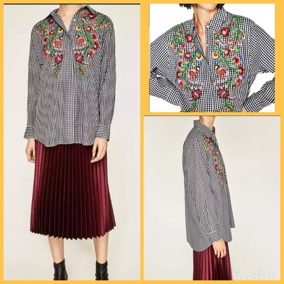 d837d865 Zara Woman Gingham Check Shirt With Embroidery. M_5ba9ad2f4ab633c99bbe1bc0